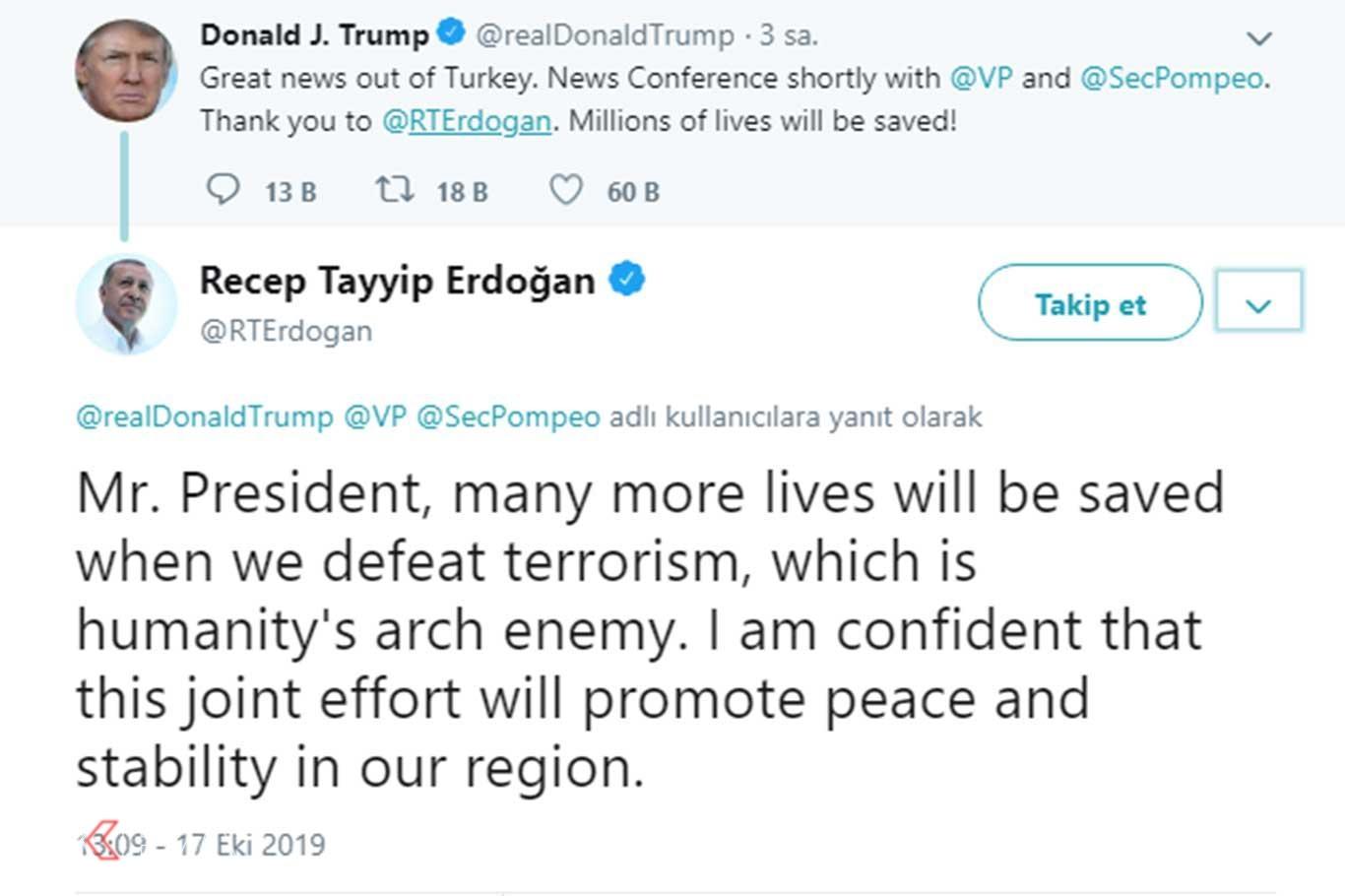 Cumhurbaşkanı Erdoğandan Trumpa yanıt.