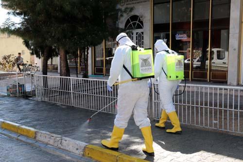 Ömerli ilçesinde ana arterler yıkanarak dezenfekte edildi