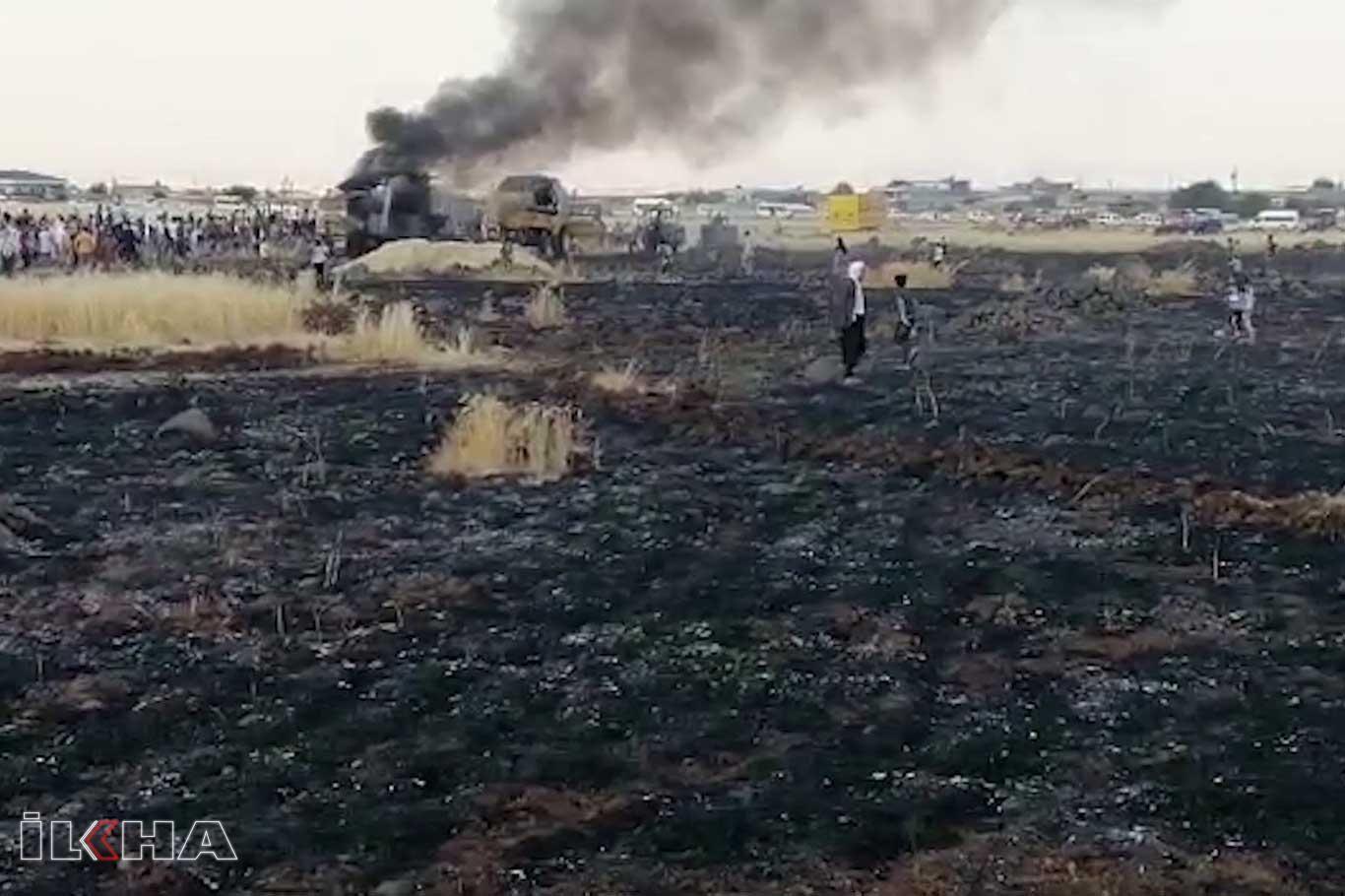 Yanan biçerdöver 100 dönümlük ekili araziye zarar verdi