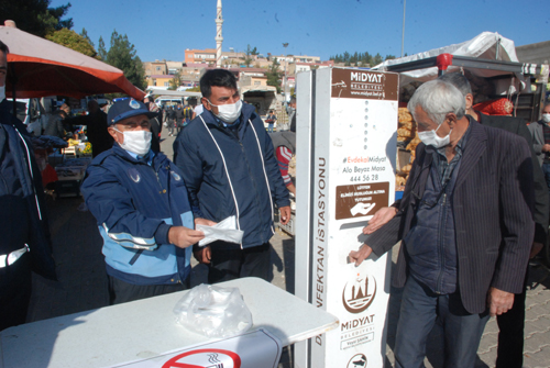 Midyat'ta Pazarlarda Koronavirüs önlemleri artırıldı