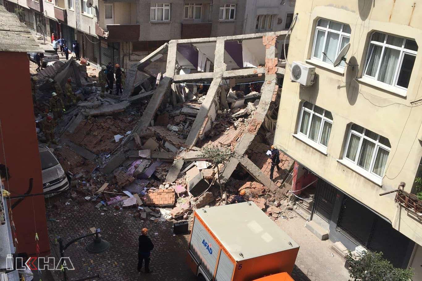 İstanbulda 5 katlı bir bina çöktü
