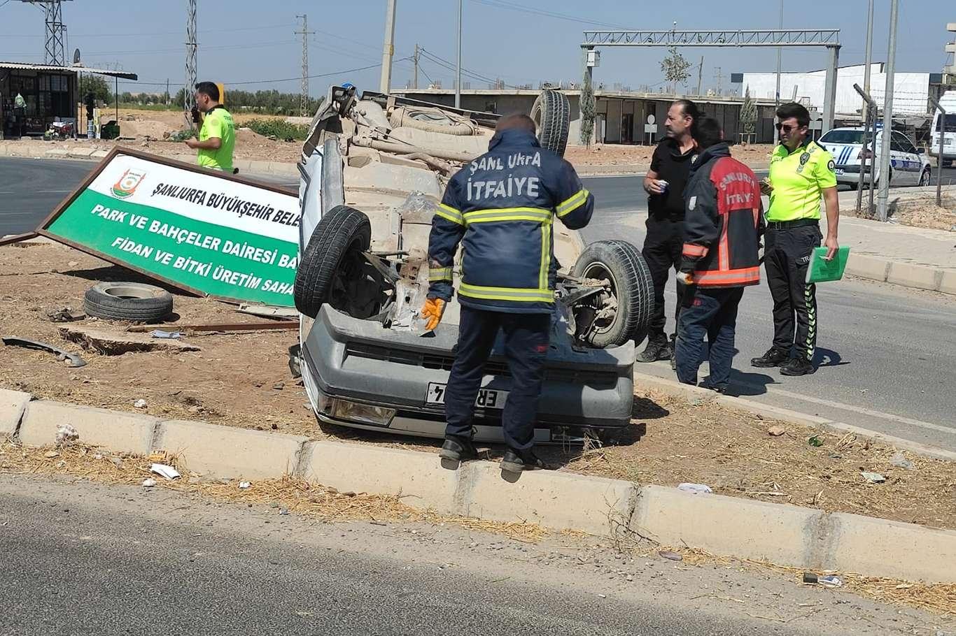 Şanlıurfada otomobilin takla atması sonucu sürücü yaralandı
