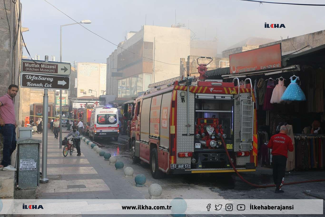 Şanlıurfada kentin en kalabalık noktasında yangın çıktı